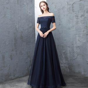 8376917cd Hermoso Marino Oscuro Vestidos de noche 2018 A-Line   Princess Rebordear  Lentejuelas Bowknot Fuera
