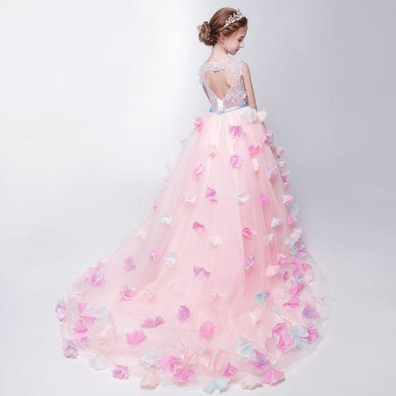 1626043783 Piękne Kościół Sukienki Na Wesele 2017 Sukienki Dla Dziewczynek Rumieniąc  Różowy Asymetryczny Suknia Balowa Wycięciem Bez