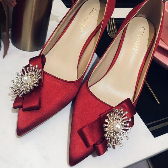 Elegant Burgundy Leather Wedding Shoes 2020 Pearl Rhinestone Bow 10 cm Stiletto Heels Pointed Toe Wedding Pumps