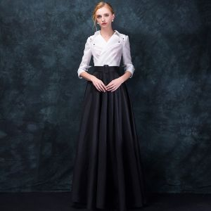 Amazing / Unique Vintage / Retro Black White Evening Dresses  2018 Empire V-Neck 3/4 Sleeve Floor-Length / Long Ruffle Formal Dresses