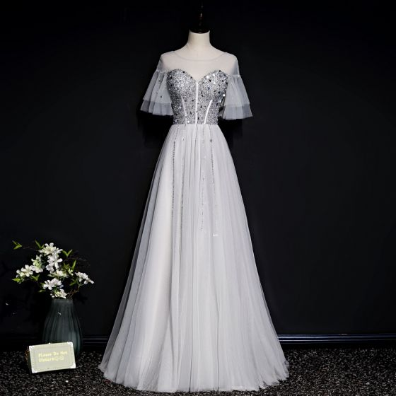 Chic / Beautiful Grey See-through Evening Dresses  2020 A-Line / Princess Scoop Neck Bell sleeves Sequins Beading Floor-Length / Long Ruffle Backless Formal Dresses