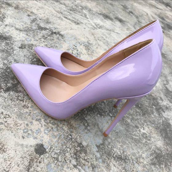 Eenvoudige Lavendel Kantoor Pumps 2019 Leer 12 cm Naaldhakken / Stiletto Spitse Neus Pumps