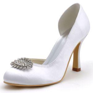 Hochwertigen Weißen Satin Hochzeit Schuhe Abendschuhe Runden Kopf Mit Hoher Diamantschuhe