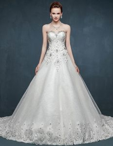 2015 Bra-type Summer Beading Luxury Long Trailing Wedding Dress