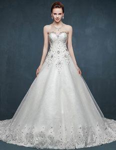 2015 Bra-type Summer Beading Luxury Long Trailing Wedding Dress