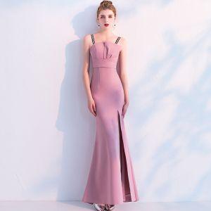 Schöne Pink Abendkleider 2019 Meerjungfrau Spaghettiträger Ärmellos Rückenfreies Gespaltete Front Knöchellänge Festliche Kleider