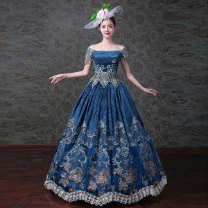 Vintage / Originale Bleu Roi Robe Boule Robe De Bal 2018 Charmeuse Lacer Bride Cheville Fleur Bustier Promo Robe De Ceremonie