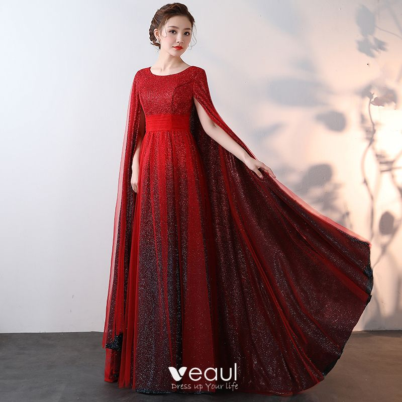 e69819cce367 Luxury / Gorgeous Sparkly Bling Bling Burgundy Floor-Length / Long Evening  Dresses 2018 A-Line / Princess With Cloak Beading Sequins Evening Party Prom  ...