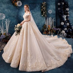 Charming Champagne Wedding Dresses 2019 A-Line / Princess Off-The-Shoulder Beading Lace Flower Sleeveless Backless Royal Train