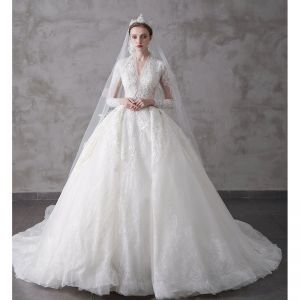 High-end Ivory Wedding Dresses 2020 A-Line / Princess V-Neck Beading Pearl Rhinestone Sequins Lace Flower 3/4 Sleeve Royal Train