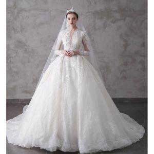 High-end Ivory Wedding Dresses 2020 A-Line / Princess V-Neck Beading Pearl Rhinestone Sequins Lace Flower 3/4 Sleeve Royal Train