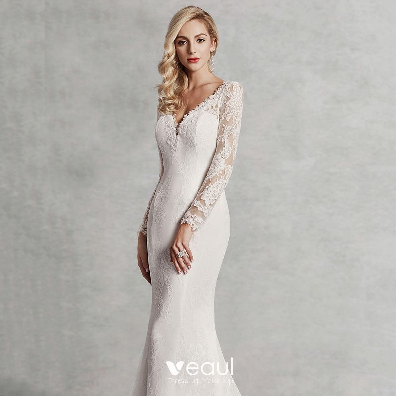 Modern Fashion Sexy Ivory Wedding Dresses 2020 Trumpet Mermaid V Neck 3d Lace Long Sleeve Appliques Backless Embroidered Sweep Train Wedding,Summer Dress For Wedding Guest Plus Size