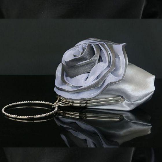 Bloemenfee Zilveren Handtassen Bloem Rhinestone Velour Huwelijk Feest Avond 2019 Accessoires