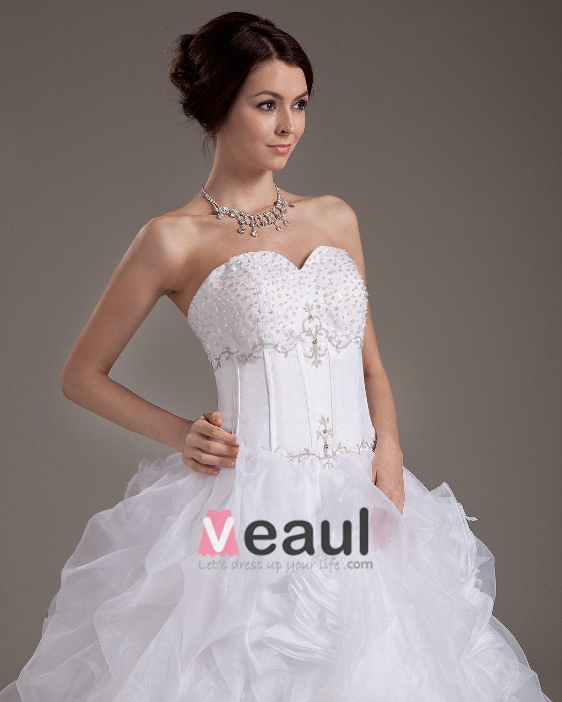 Beading Yarn Ruffles Satin Sleeveless Sweetheart Cathedral Train Ball Gown Wedding Dress