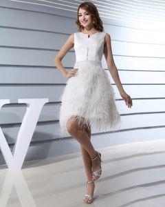 Decollete Bijou Longueur De La Cuisse Sans Manches Perles Satin Des Robes De Bal De La Femme