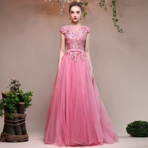 Chic / Beautiful Candy Pink Evening Dresses  2017 U-Neck Lace Appliques Backless A-Line / Princess Formal Dresses