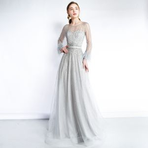 Luxury / Gorgeous Grey See-through Evening Dresses  2019 A-Line / Princess Scoop Neck Long Sleeve Feather Beading Sash Sweep Train Ruffle Formal Dresses