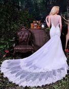 2015 Elegant Mermaid Deep V-neck Beading Pierced Long Tailing Tulle Wedding Dresses