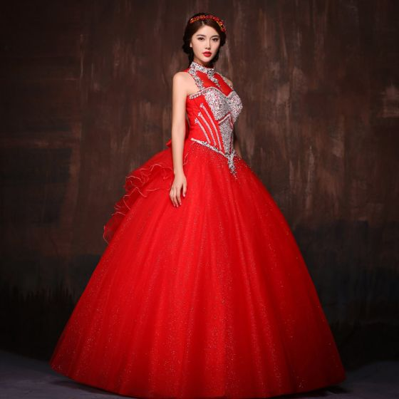 Chic / Beautiful Red Prom Dresses 2017 Ball Gown Halter Lace Butterfly Backless Beading Rhinestone Evening Party Evening Dresses