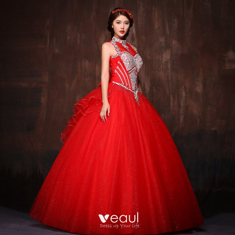 1b61ce3ced Chic / Beautiful Red Prom Dresses 2017 Ball Gown Halter Lace ...