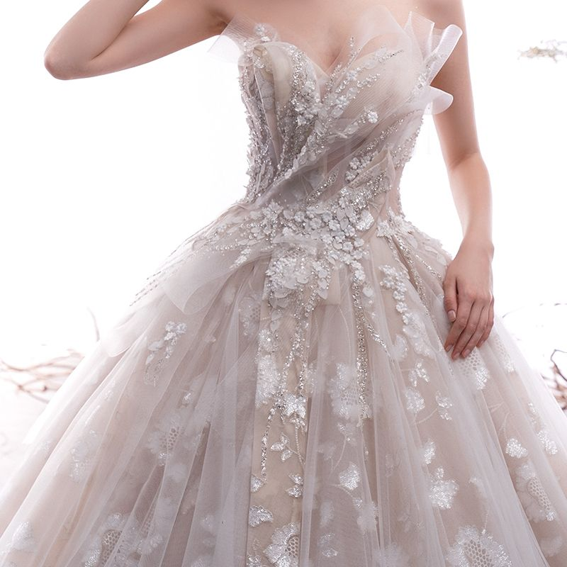 Elegante Champagner Brautkleider / Hochzeitskleider 2019 A Linie Herz-Ausschnitt Ärmellos Rückenfreies Glanz Applikationen Spitze Kathedrale Schleppe Rüschen
