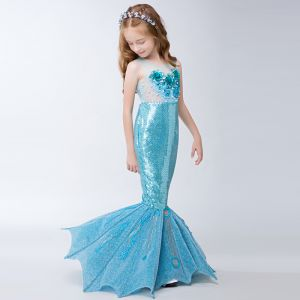 Amazing / Unique Hall Wedding Party Dresses 2017 Flower Girl Dresses Pool Blue Sequins Trumpet / Mermaid Glitter Floor-Length / Long Sash Scoop Neck Sleeveless Backless Flower Appliques Pearl