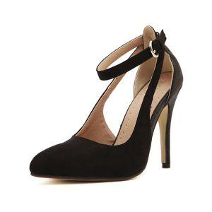 Classic Black Suede Pumps 4 Inch Stiletto Heel Womens High Heel Shoes