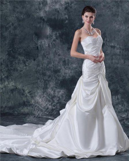 Satin Sicke Schatz Kathedrale Der A-linie Brautkleider Hochzeitskleid