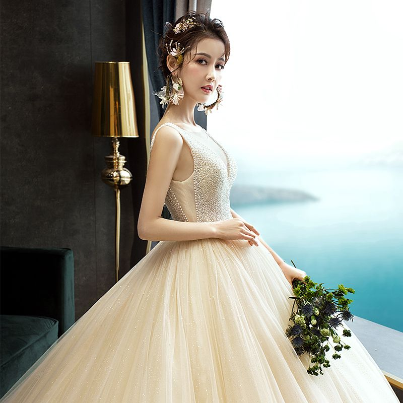 Elegant Champagne Wedding Dresses 2019 A-Line / Princess Scoop Neck Beading Sequins Sleeveless Backless Court Train