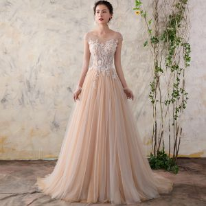 Chic / Beautiful Champagne Wedding Dresses 2018 A-Line / Princess Lace Flower Pearl Scoop Neck Backless Cap Sleeves Sweep Train Wedding