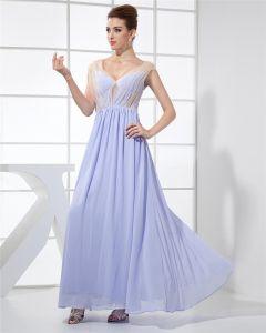 Mode Chiffon Charmeuse Seidengaze V-ausschnitt Bodenlangen Ärmellose Frauen Abendkleid