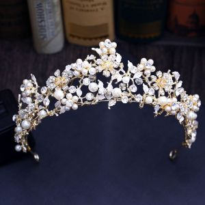 Chic / Beautiful Gold Silver Tiara 2018 Metal Crystal Pearl Rhinestone Leaf Accessories
