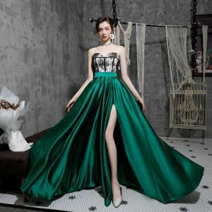 Sexy Dark Green Satin Evening Dresses  2020 A-Line / Princess Sweetheart Sleeveless Appliques Lace Court Train Split Front Ruffle Backless Formal Dresses