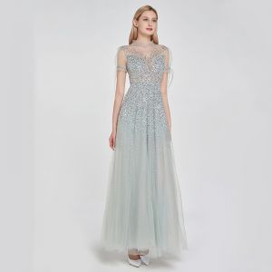 High-end Silver See-through Dancing Prom Dresses 2020 A-Line / Princess High Neck Short Sleeve Beading Sequins Floor-Length / Long Ruffle Formal Dresses