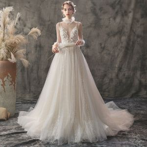 Elegant Champagne Outdoor / Garden Wedding Dresses 2019 A-Line / Princess See-through Deep V-Neck 3/4 Sleeve Appliques Flower Beading Glitter Tulle Court Train Ruffle