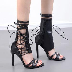 Rimelig Svart Casual Boret Kvinners støvler 2020 12 cm Stiletthæler Peep Toe Boots