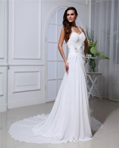 Chiffon Ruffles Halter Cathedral Train Sheath Wedding Dresses