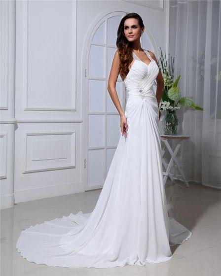Chiffon Ruffles Halter Cathedral Train Sheath Wedding Dresses