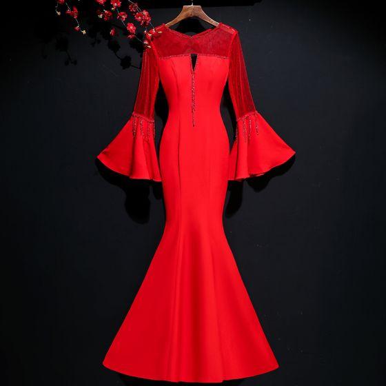 Schöne Rot Abendkleider 2017 Mermaid Kristall Rundhalsausschnitt Durchbohrt Rückenfreies Lange Ärmel Lange Festliche Kleider