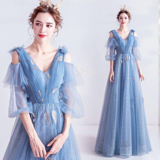 Charmig Himmelsblå Aftonklänningar 2020 Prinsessa V-Hals Spets Paljetter 1/2 ärm Halterneck Långa Formella Klänningar