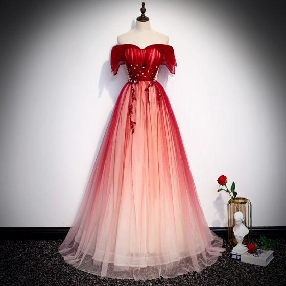 Chic / Belle Rouge Robe De Soirée 2020 Princesse De l'épaule Manches Courtes Perlage Longue Dos Nu Robe De Ceremonie
