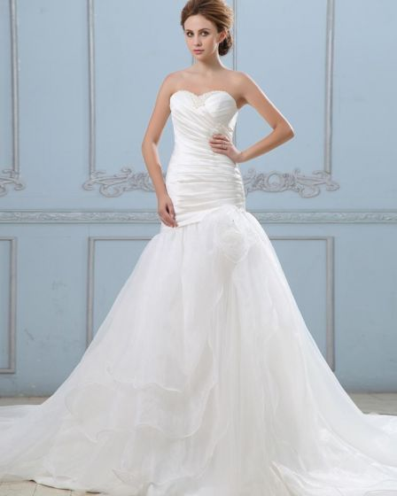 Ruffle Hand Flower Sweetheart Organza Court Mermaid Bridal Gown Wedding Dresses