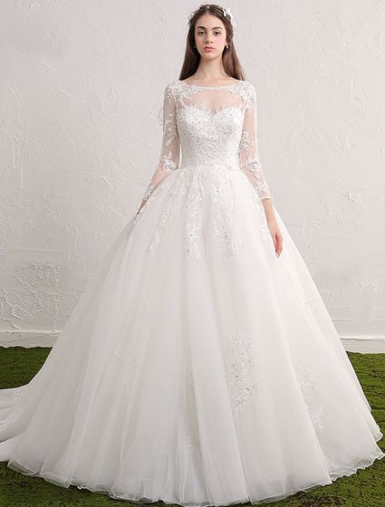 c4815cc4 Księżniczki Suknie Ślubne 2017 Sukienka Koronki Dekolt Miarka Cekinami  Aplikacja Wzburzyć Tiulu Ślub Z Długimi Rękawami Miarka Dekolt