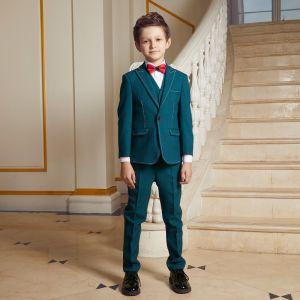 Simple Vert Costumes De Mariage pour garçons 2020 Rouge Cravate