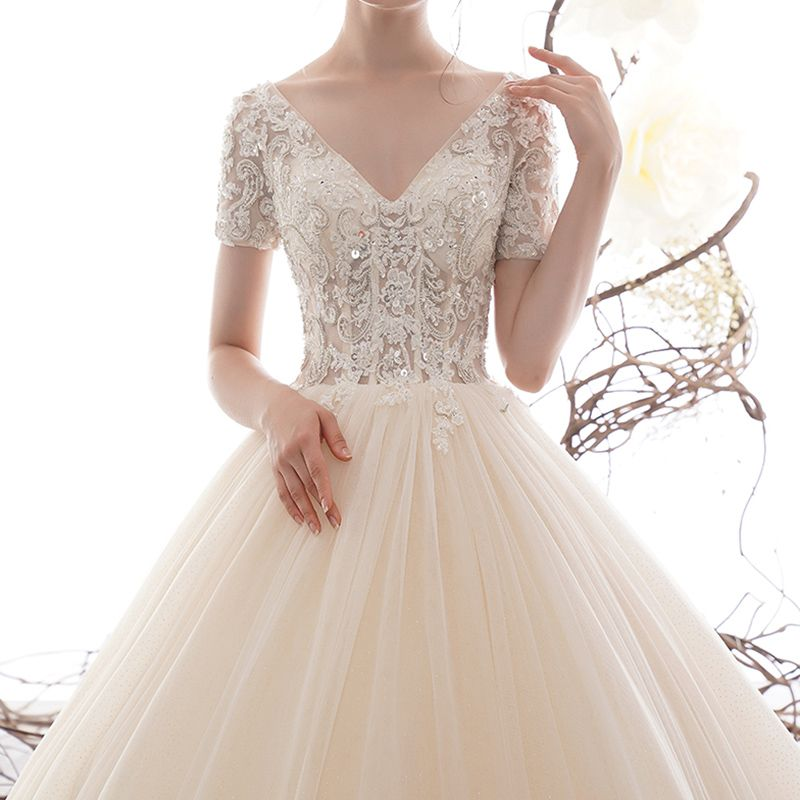 Luxury / Gorgeous Champagne Wedding Dresses 2019 A-Line / Princess V-Neck Short Sleeve Backless Sequins Beading Glitter Tulle Chapel Train Ruffle