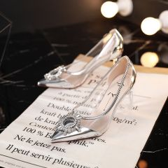 Charming Silver Evening Party Pumps 2019 Patent Leather Crystal Rhinestone 7 cm Stiletto Heels Pointed Toe Pumps
