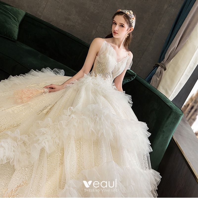 Wedding Ball Gowns With Straps: Fabulous Champagne Wedding Dresses 2019 Ball Gown