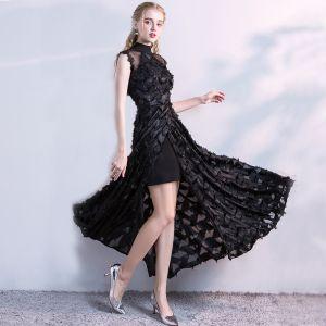 Schöne Schwarz Abnehmbar Abendkleider 2017 A Linie Mit Spitze Blumen Stehkragen Ärmellos Knöchellänge Festliche Kleider