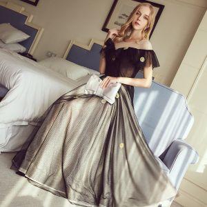 Chic / Belle Noire Robe De Soirée 2017 Princesse U-Cou Tulle Appliques Dos Nu Soirée Robe De Ceremonie