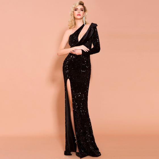 Mode Noire Paillettes Robe De Soirée 2020 Trompette / Sirène Une épaule Manches Longues Fendue devant Longue Dos Nu Robe De Ceremonie